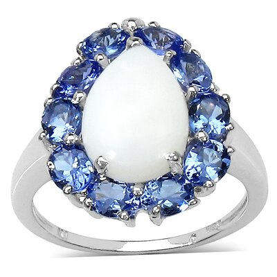 925 Sterling Silver Pear Cut Opal Halo Ring