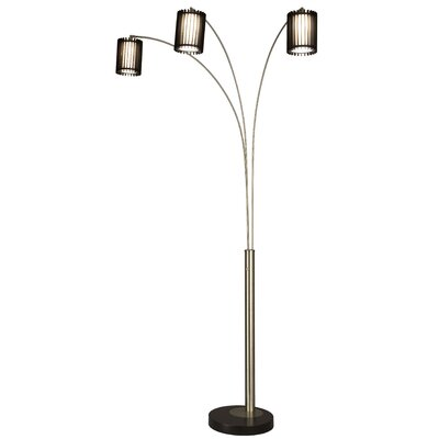 Nova Steccia Three Light Arc Floor Lamp in Black