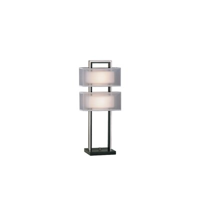 Nova Amarillo Silver Accent Table Lamp in Dark Brown Wood and Brushed Nickel