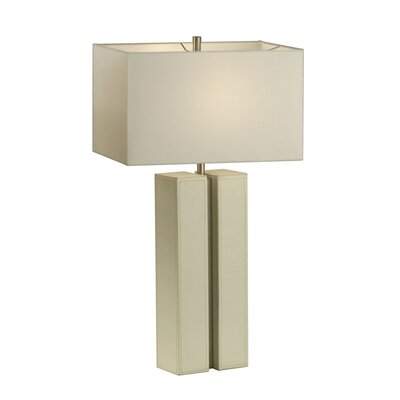 Page Table Lamp in White Leather