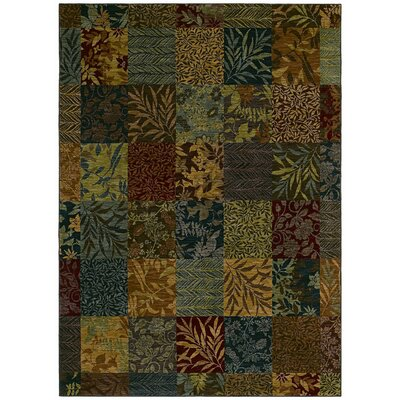 Home Nylon Multi-Colored Batik Leaf Rug