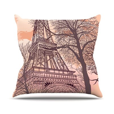 KESS InHouse Eiffel Tower Throw Pillow