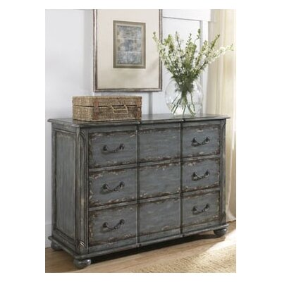 Hammary Hidden Treasures Drawer Chest in Blue Weathered Painted Finish