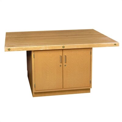 Shain Four Station Wooden Workbench with Two Door Cabinet