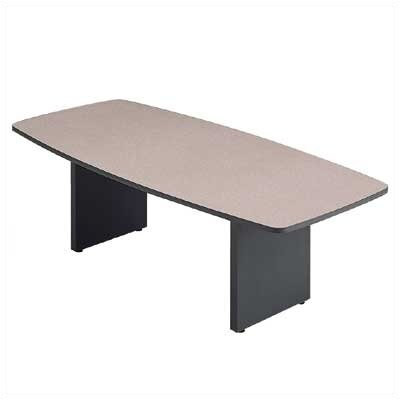 "ABCO 120"" Wide Boat Shape Top Conference Table with Slab Base"