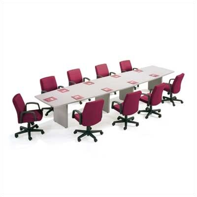 "ABCO 120"" Wide Self Edge Boat Shape Top Conference Table with Slab Base"