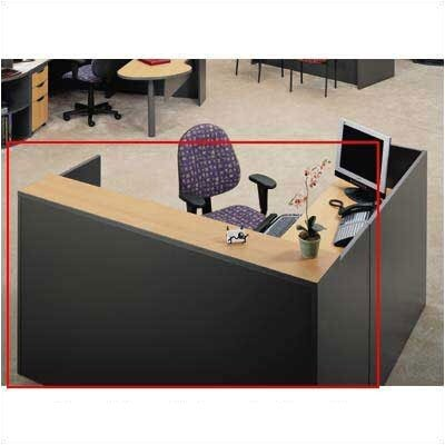 ABCO Unity Series 72&quot; x 78&quot; Reception Desk with Matching 2-Drawer Partial Pedestal