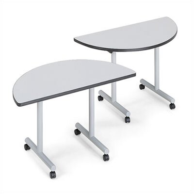 ABCO Smart Tables: 24&quot; x 84&quot; Rectangle Thermofused Melamine Conference Table and Half Circle Kit