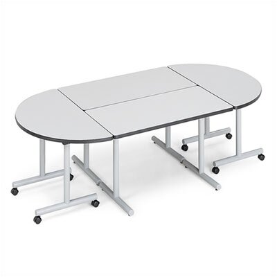 "ABCO Smart Tables: 24"" x 48"" Rectangle Thermofused Melamine Conference Table and Half Circle Kit"