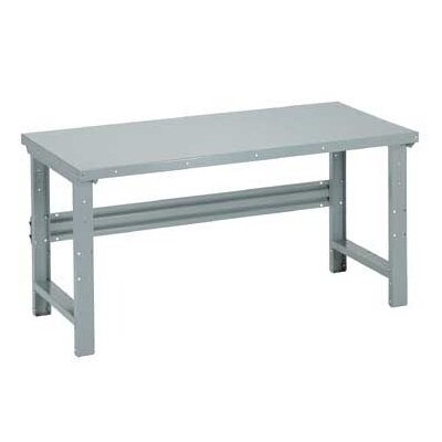 Penco Open Work Bench - Steel Top, Adjustable Height with Shelf