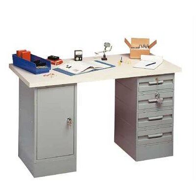 Penco Modular Work Benches - Steel Top, 2 Cabinets