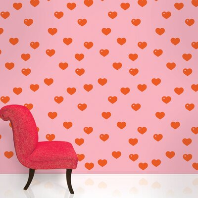 WallCandy Arts Hearts Wallpaper in Red and Pink