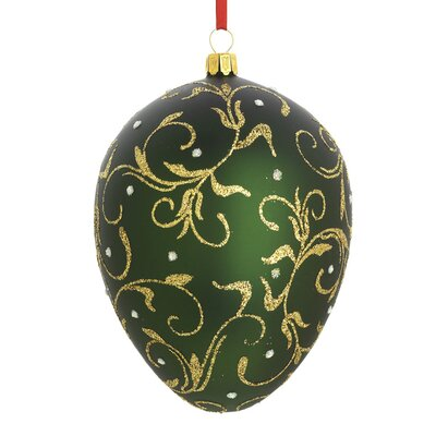 Golden Scroll Egg Blown Glass Ornament