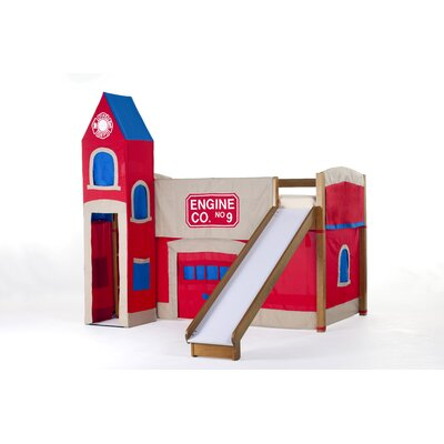 NE Kids School House Twin Firehouse Low Loft Bed