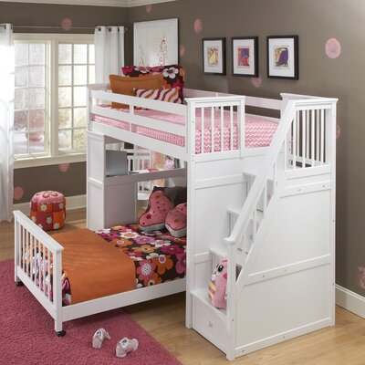 NE Kids School House L-Shaped Bunk Bed with Desk and Stairs