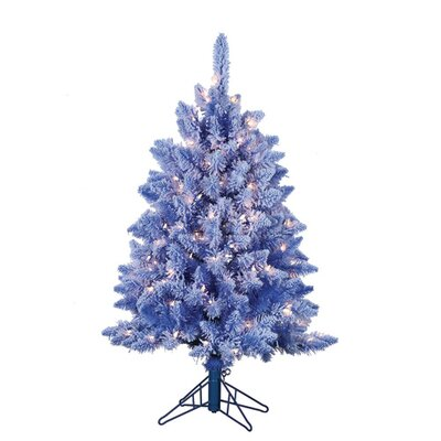 4' Blue Lightly Keystone Pine Christmas Tree with 200 Clear Lights with Flocked and Stand ...