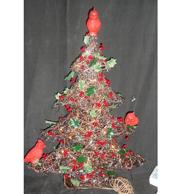 Rattan Christmas Tree with Birds 50 Lights