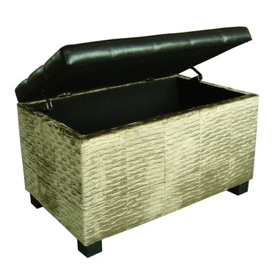 ORE Furniture Chanille and Faux Leather Storage Bench