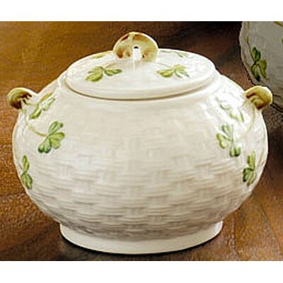 Belleek Shamrock Sugar Bowl with Lid