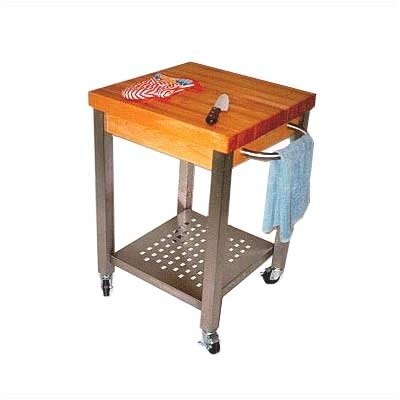 John Boos Cucina Americana Technica Kitchen Cart with Wood Top