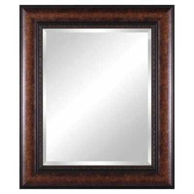 Vanity Beveled Mirror in Mottled Black Brown with Leaf Lip