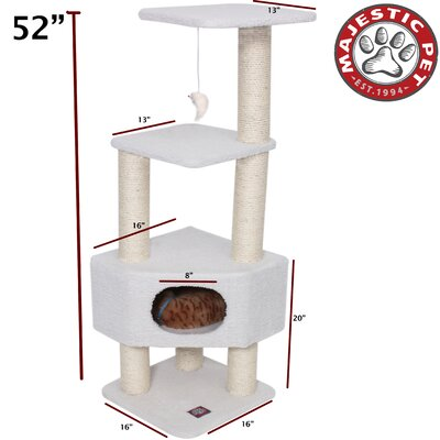 "Majestic Pet Products 52"" Bungalow Sherpa Cat Tree"