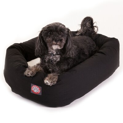 Majestic Pet Products Bagel Dog Bed in Black and Sherpa