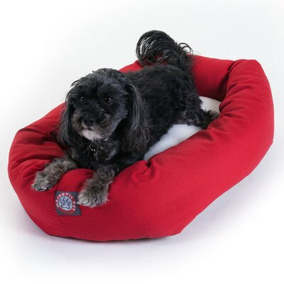 Majestic Pet Products Bagel Dog Bed in Red and Sherpa