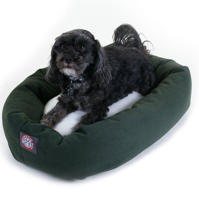 Bagel Dog Bed in Green and Sherpa