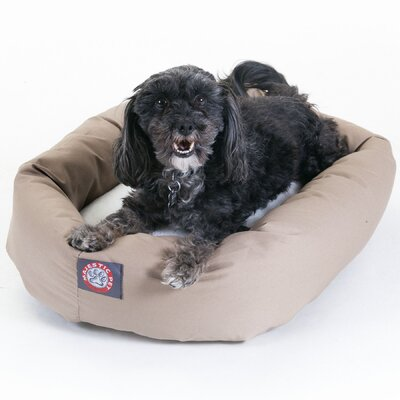 Bagel Dog Bed in Khaki and Sherpa