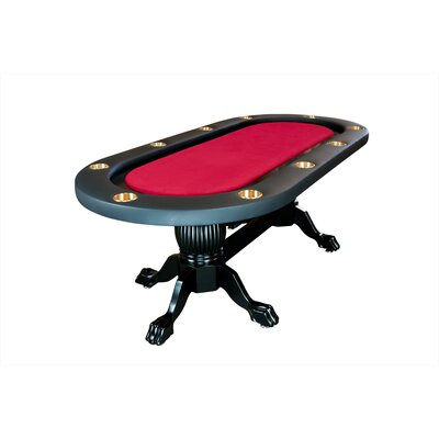 "BBO Poker Elite 94"" Sunken Playing Surface Poker Table in Red"