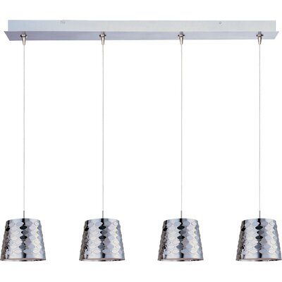 ET2 Minx 4 Light RapidJack Linear Pendant with Crystal Glass Shade in Satin Nickel