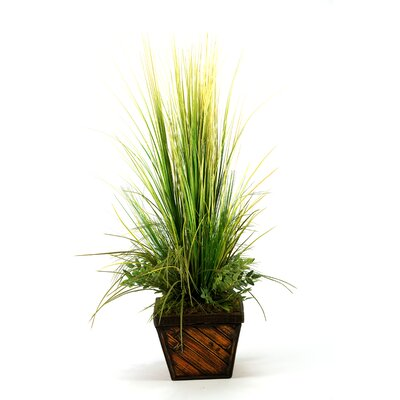 D & W Silks Mixed Grasses in Square Bamboo Planter