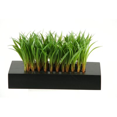 D & W Silks Wild Grass Wooden Planter