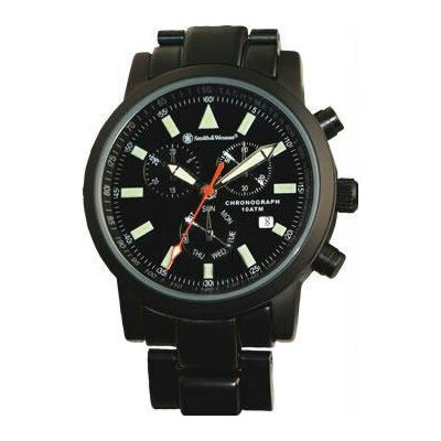 Smith & Wesson Pilot Men's Round Face Chronograph Link Watch