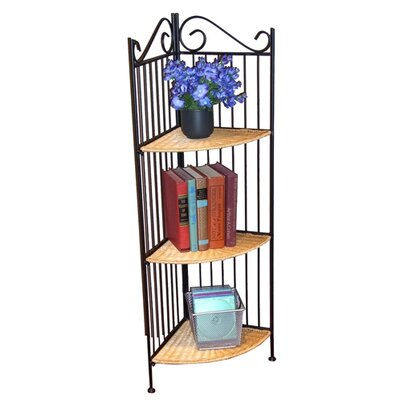 4D Concepts 3 Tier Corner Bookcase in Wicker and Metal