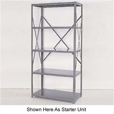 Republic Industrial Clip Open Shelving: Angle Post Units with 5 Shelf Frames; Adder Unit