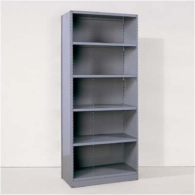 Republic Industrial Clip Closed Shelving: Beaded Post Units with 6 Shelves; Starter Unit
