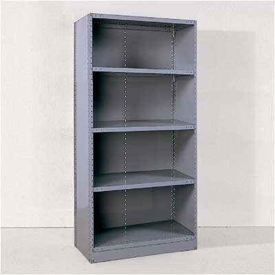 Republic Industrial Clip Closed Shelving: Beaded Post Units with 5 Shelves; Starter Unit
