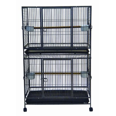 YML Play Top Wrought Iron Double Bird Cage in Antique Silver