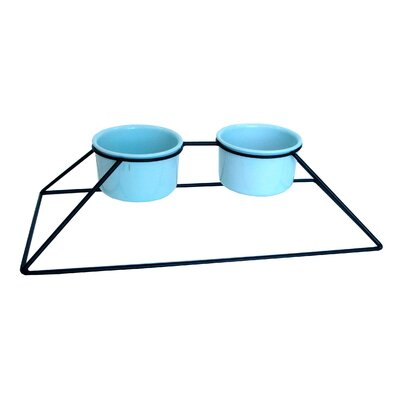 YML Double Iron Stand with Plastic Feeder Bowls