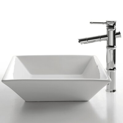 Kraus Ceramic Square Bathroom Sink with Bamboo Single Lever Faucet