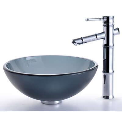 Glass Vessel Sink and Bamboo Faucet - C-GV-104FR-14-12mm-1300