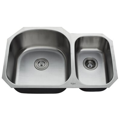 "Kraus 32"" Undermount 70/30 Double Bowl Kitchen Sink with 11"" Faucet and Soap Dispenser"