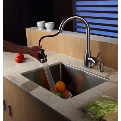 "Kraus Undermount 32"" Single Bowl Kitchen Sink with Faucet and Soap Dispenser"