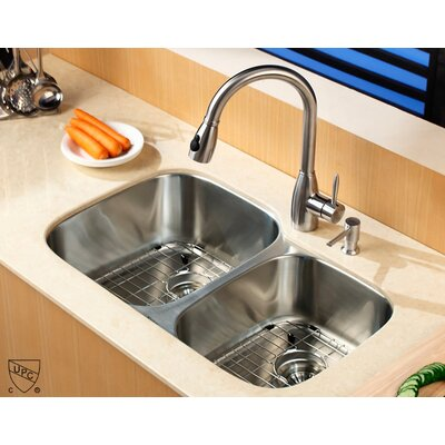 "Kraus  Stainless Steel Undermount 32"" Double Bowl Kitchen Sink with Pull-Out Kitchen Faucet and Soap Dispenser"