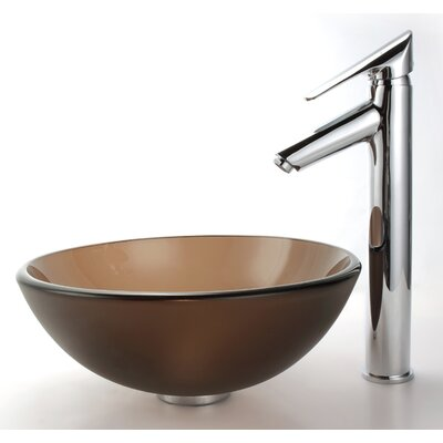 "Kraus Frosted Glass 14"" Vessel Sink and Decus Bathroom Faucet in Chrome"