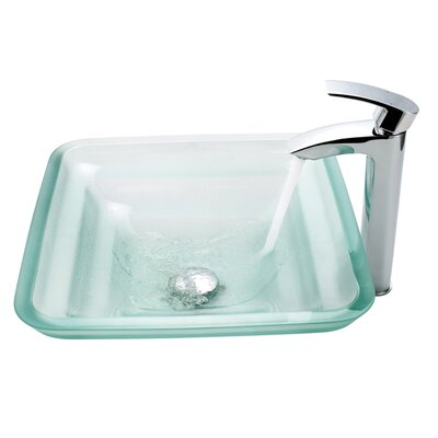 Kraus Oceania Glass Vessel Sink and Visio Bathroom Faucet in Chrome