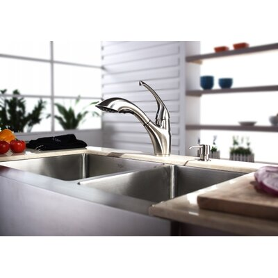 "Kraus Farmhouse 33"" 70/30 Double Bowl Kitchen Sink with Faucet and Soap Dispenser"