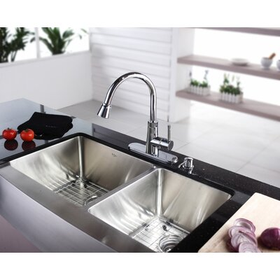 "Kraus Farmhouse 36"" 70/30 Double Bowl Kitchen Sink with Faucet and Soap Dispenser"